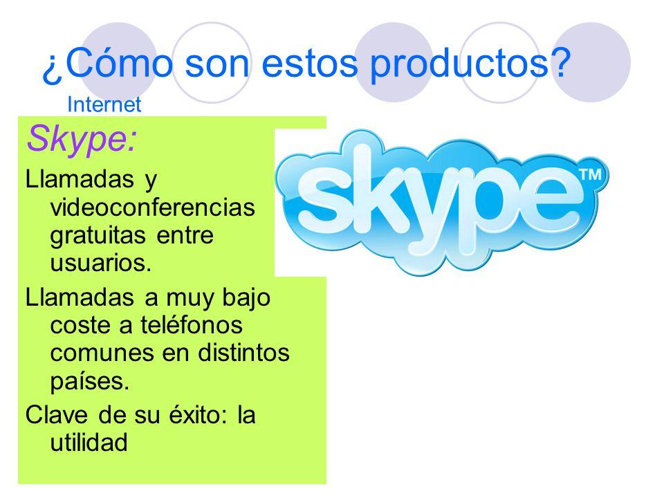 ¿Cómo son estos productos? Skype: Llamadas y videoconferencias gratuitas entre usuarios. Llamadas a muy bajo coste a teléfonos comunes en distintos pa