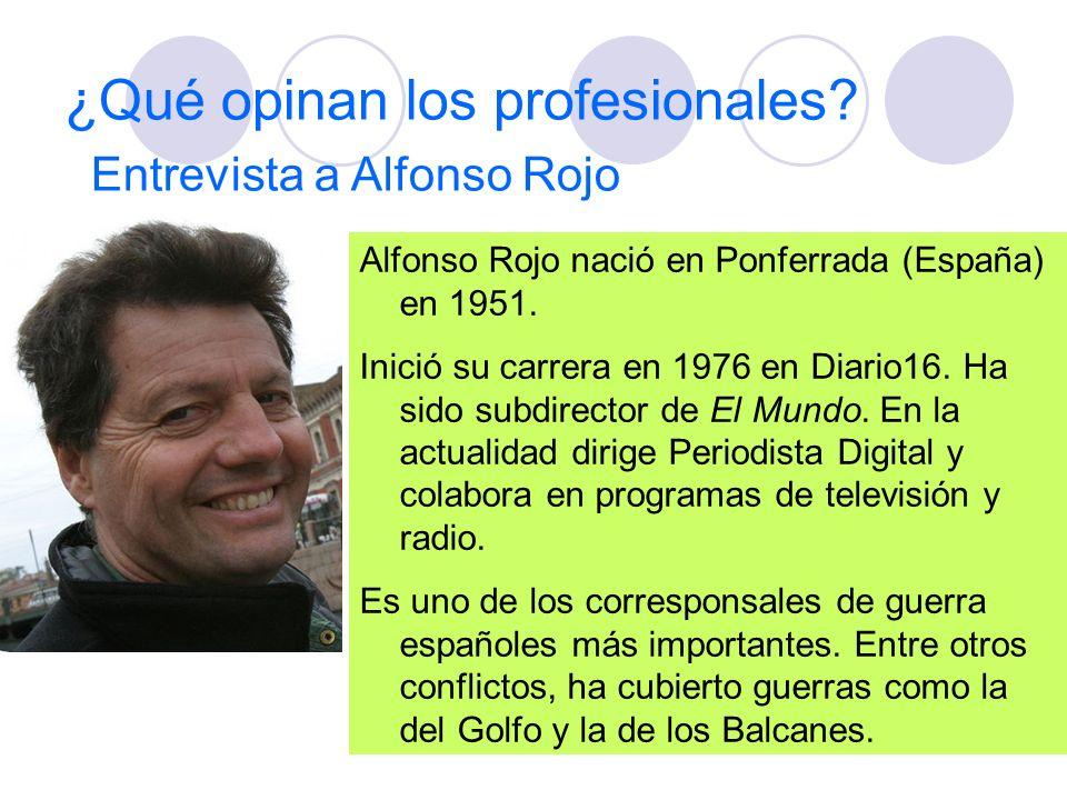 ¿Qué opinan los profesionales? Entrevista a Alfonso Rojo Alfonso Rojo nació en Ponferrada (España) en 1951. Inició su carrera en 1976 en Diario16. Ha