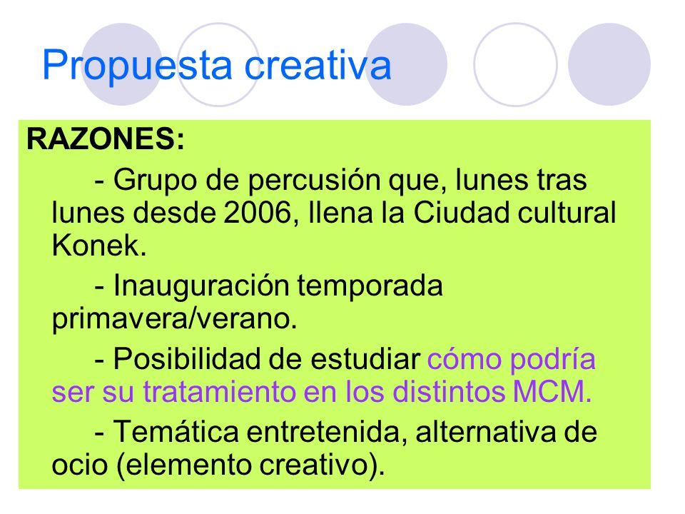Propuesta creativa RAZONES: - Grupo de percusión que, lunes tras lunes desde 2006, llena la Ciudad cultural Konek. - Inauguración temporada primavera/