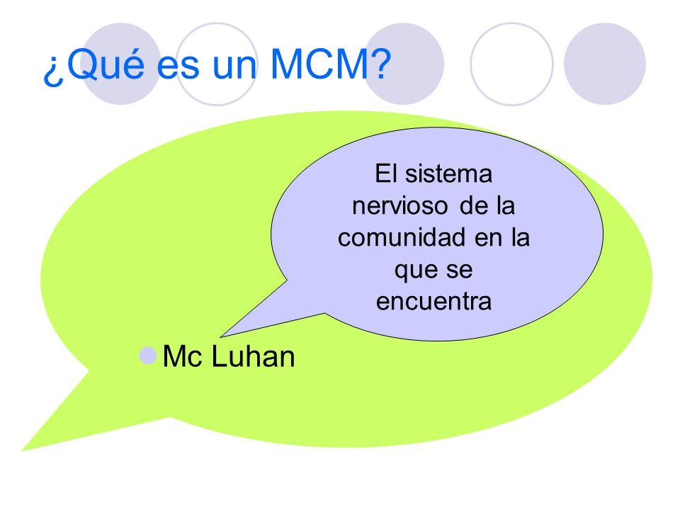 ¿Qué es un MCM? Mc Luhan El sistema nervioso de la comunidad en la que se encuentra