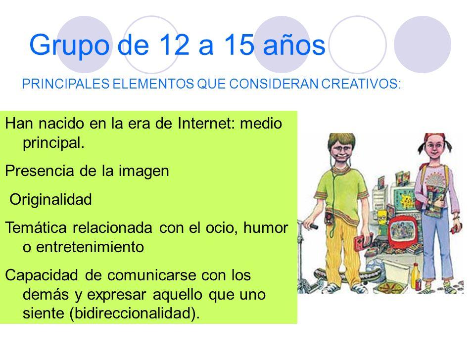 Grupo de 12 a 15 años Han nacido en la era de Internet: medio principal. Presencia de la imagen Originalidad Temática relacionada con el ocio, humor o