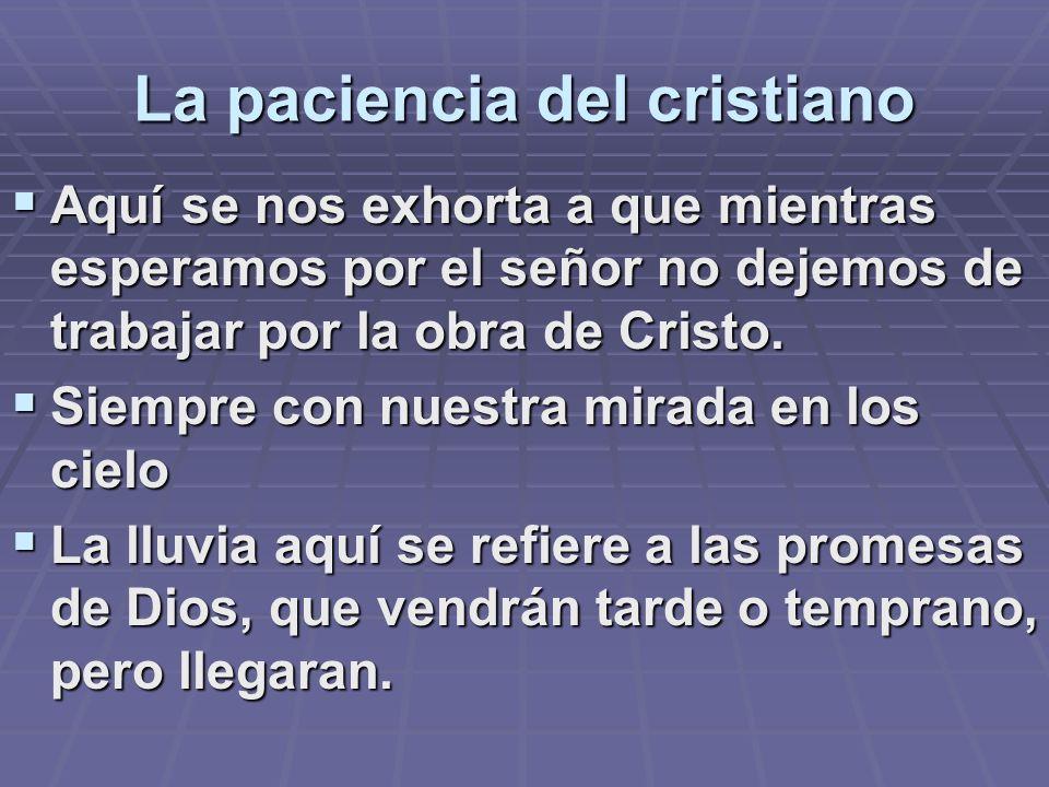 La paciencia del cristiano Aquí se nos exhorta a que mientras esperamos por el señor no dejemos de trabajar por la obra de Cristo. Aquí se nos exhorta