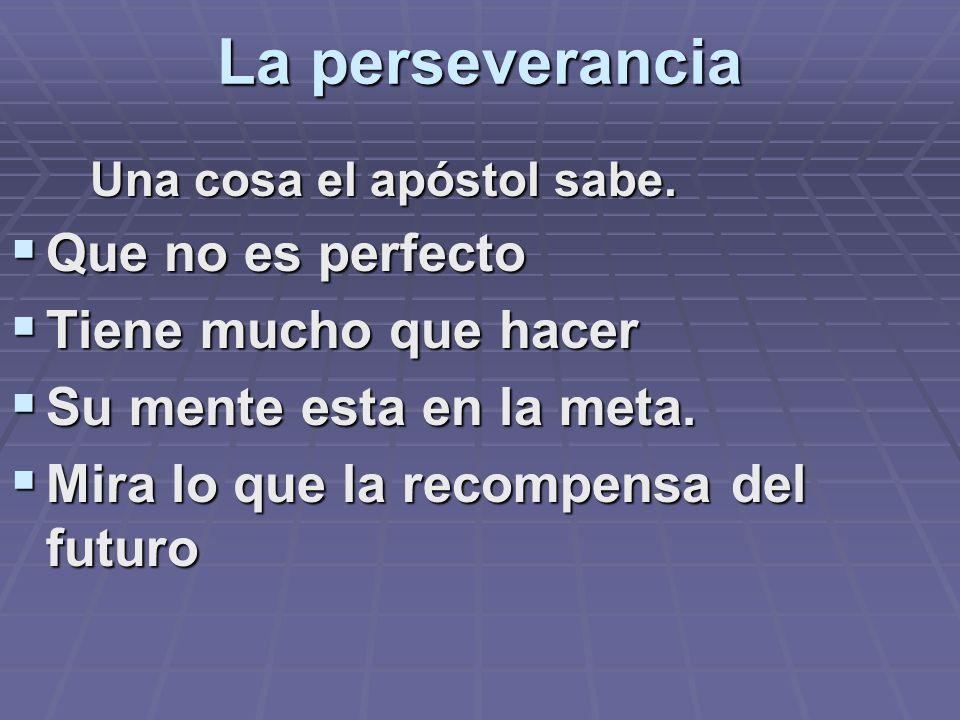 La perseverancia Una cosa el apóstol sabe. Una cosa el apóstol sabe. Que no es perfecto Que no es perfecto Tiene mucho que hacer Tiene mucho que hacer