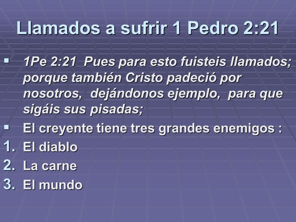 Llamados a sufrir 1 Pedro 2:21 1Pe 2:21 Pues para esto fuisteis llamados; porque también Cristo padeció por nosotros, dejándonos ejemplo, para que sig