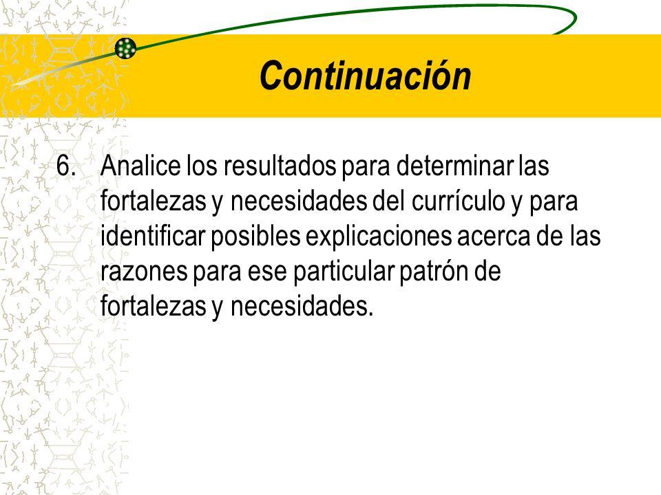 Continuación 6.Analice los resultados para determinar las fortalezas y necesidades del currículo y para identificar posibles explicaciones acerca de l