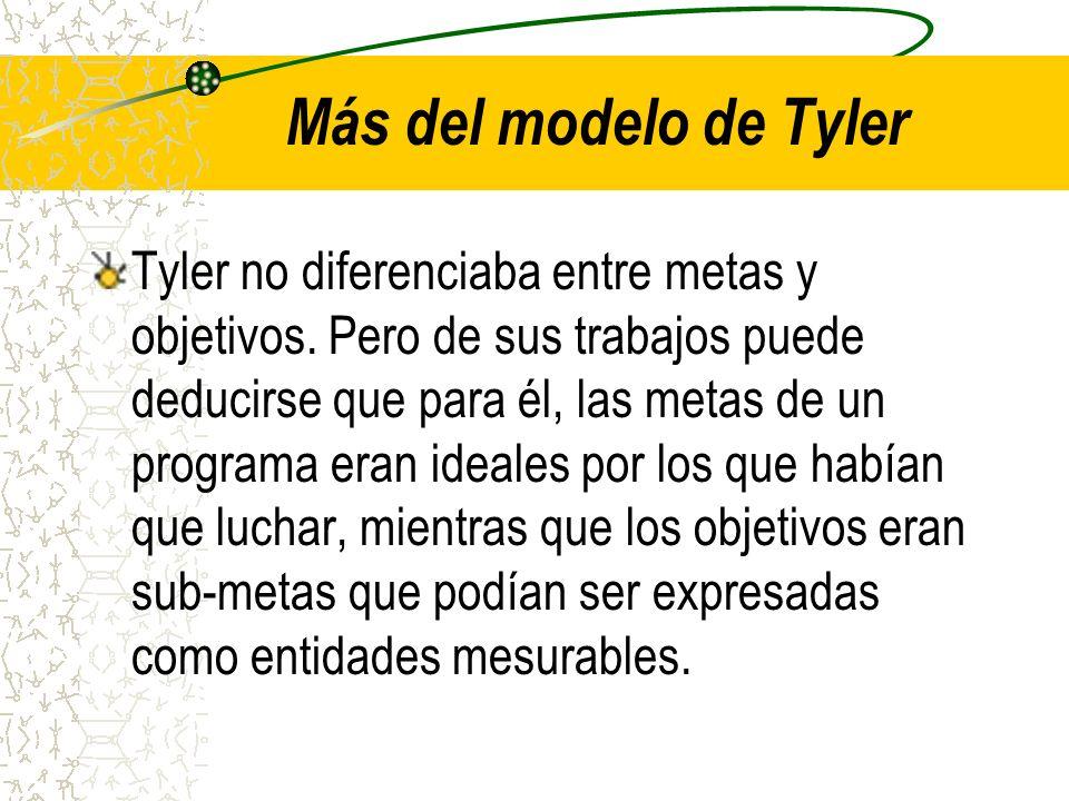 Más del modelo de Tyler Tyler no diferenciaba entre metas y objetivos. Pero de sus trabajos puede deducirse que para él, las metas de un programa eran