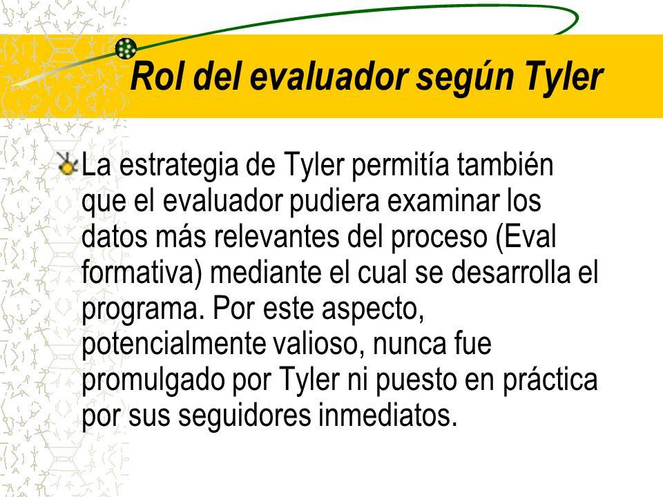 Rol del evaluador según Tyler La estrategia de Tyler permitía también que el evaluador pudiera examinar los datos más relevantes del proceso (Eval for