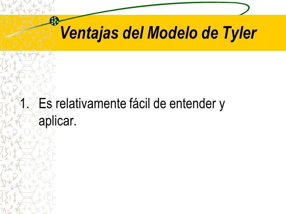 Ventajas del Modelo de Tyler 1.Es relativamente fácil de entender y aplicar.