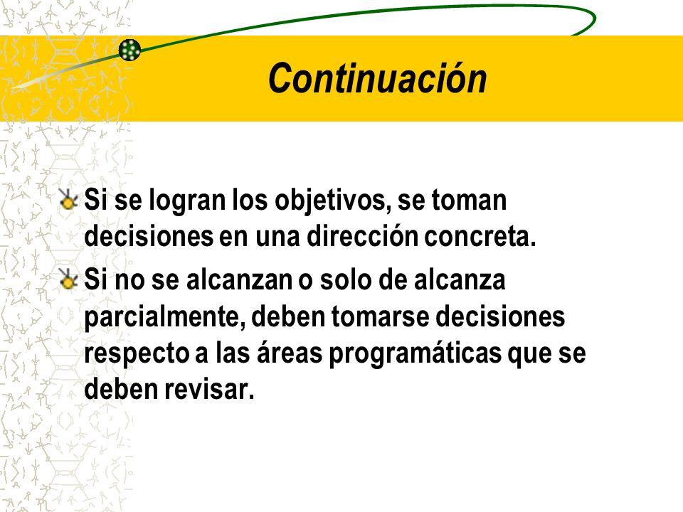 Continuación Si se logran los objetivos, se toman decisiones en una dirección concreta. Si no se alcanzan o solo de alcanza parcialmente, deben tomars