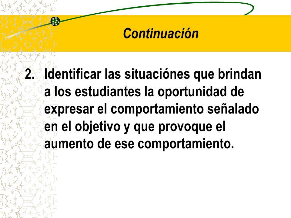Continuación 2.Identificar las situaciónes que brindan a los estudiantes la oportunidad de expresar el comportamiento señalado en el objetivo y que pr