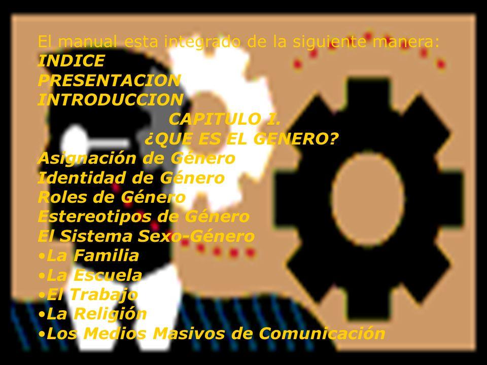 El manual esta integrado de la siguiente manera: INDICE PRESENTACION INTRODUCCION CAPITULO I. ¿QUE ES EL GENERO? Asignación de Género Identidad de Gén