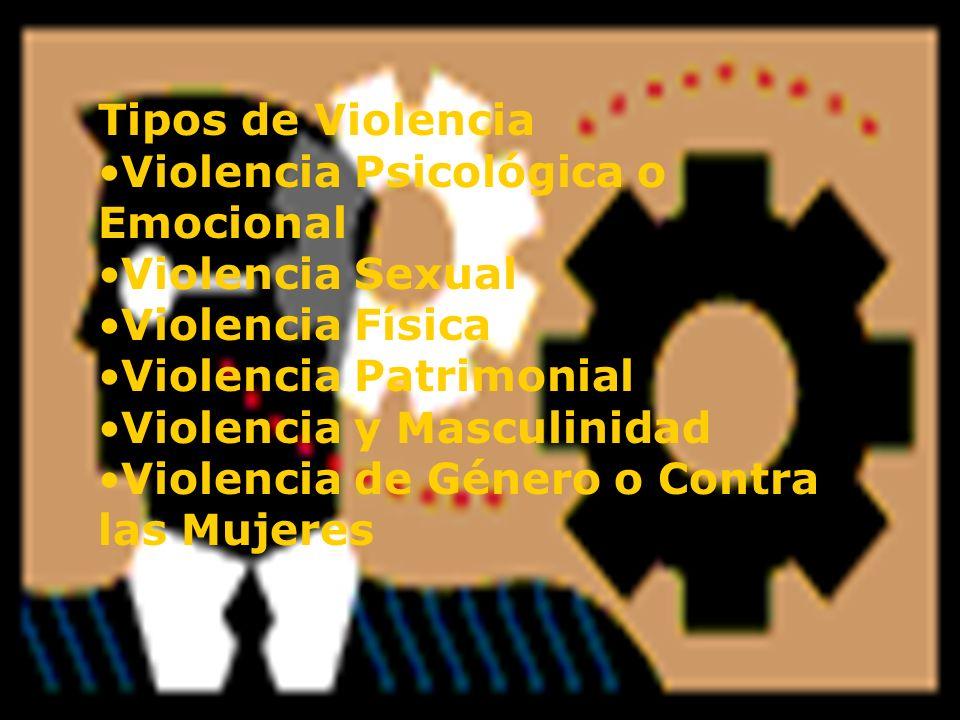 Tipos de Violencia Violencia Psicológica o Emocional Violencia Sexual Violencia Física Violencia Patrimonial Violencia y Masculinidad Violencia de Gén