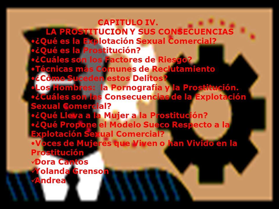 CAPITULO IV. LA PROSTITUCION Y SUS CONSECUENCIAS ¿Qué es la Explotación Sexual Comercial? ¿Qué es la Prostitución? ¿Cuáles son los Factores de Riesgo?