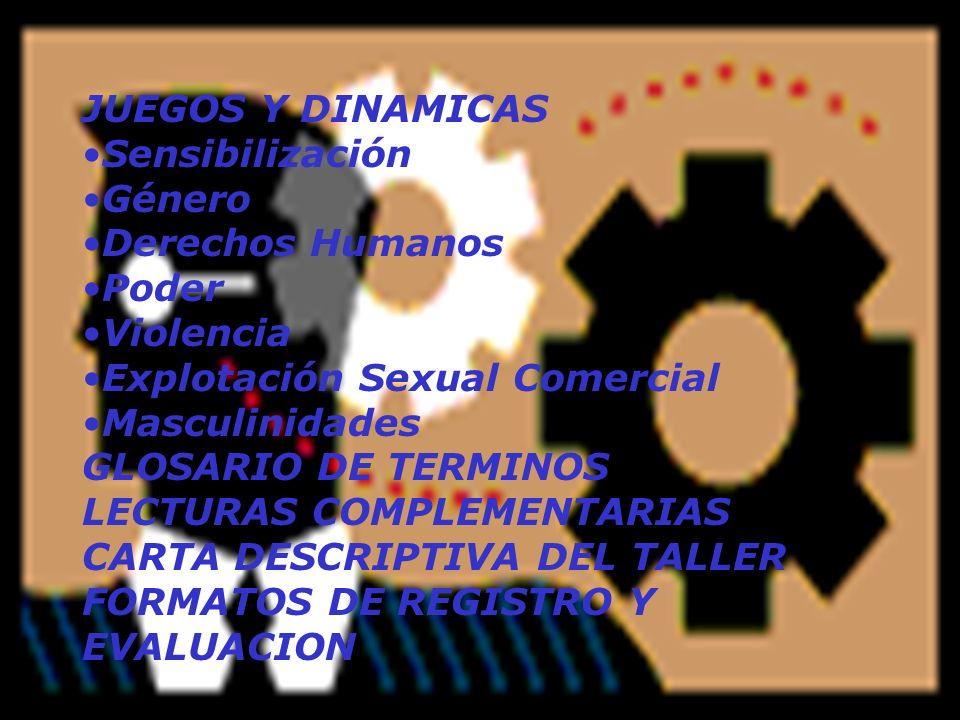 JUEGOS Y DINAMICAS Sensibilización Género Derechos Humanos Poder Violencia Explotación Sexual Comercial Masculinidades GLOSARIO DE TERMINOS LECTURAS C