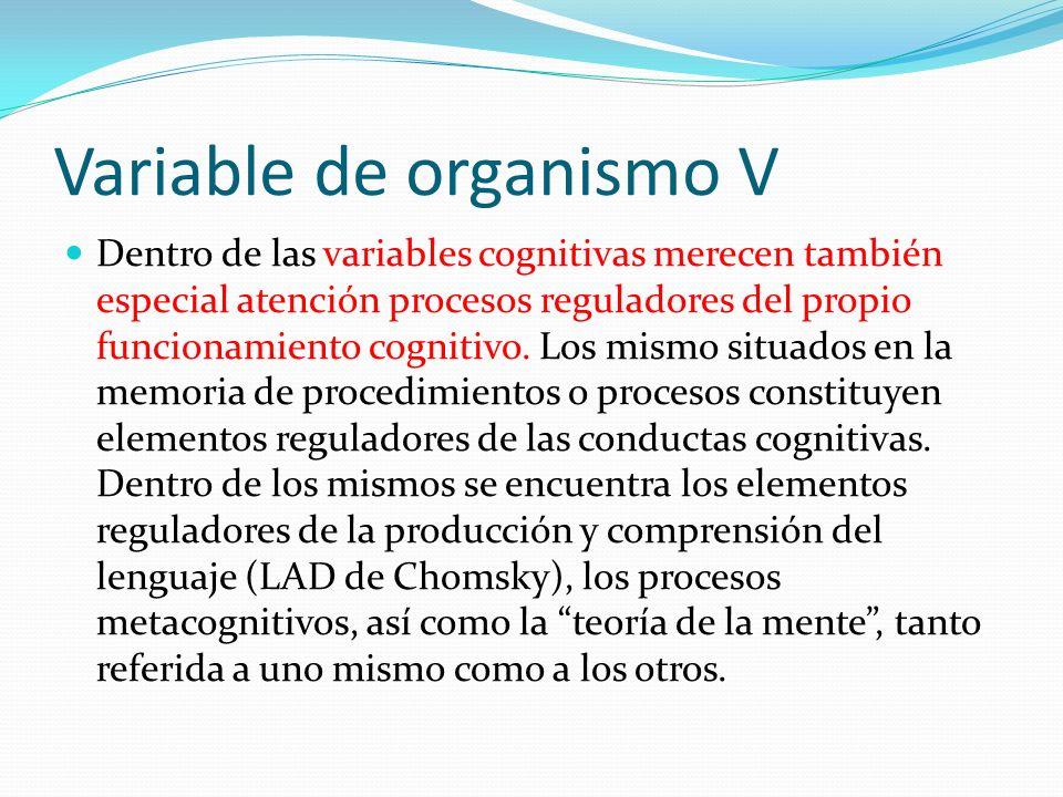 Variable de organismo V Dentro de las variables cognitivas merecen también especial atención procesos reguladores del propio funcionamiento cognitivo.