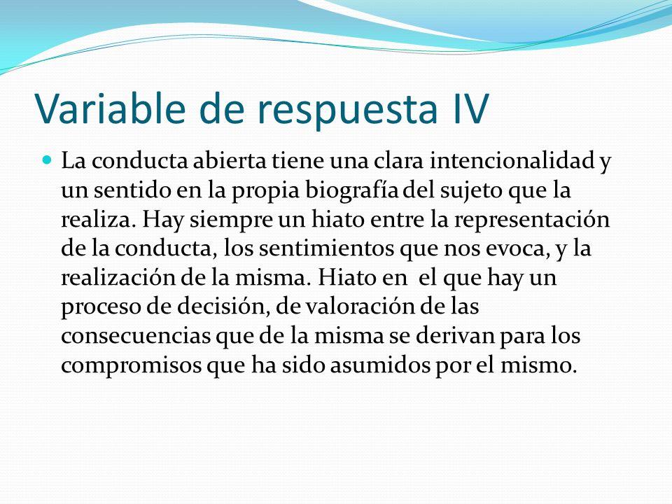 Variable de respuesta IV La conducta abierta tiene una clara intencionalidad y un sentido en la propia biografía del sujeto que la realiza. Hay siempr
