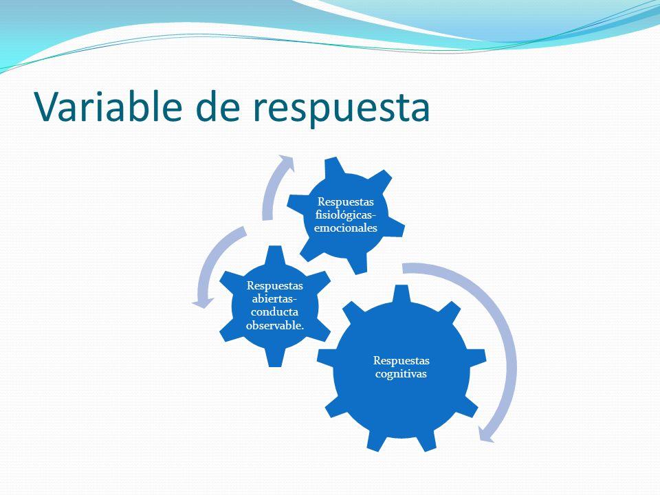 Variable de respuesta Respuestas cognitivas Respuestas abiertas- conducta observable. Respuestas fisiológicas- emocionales