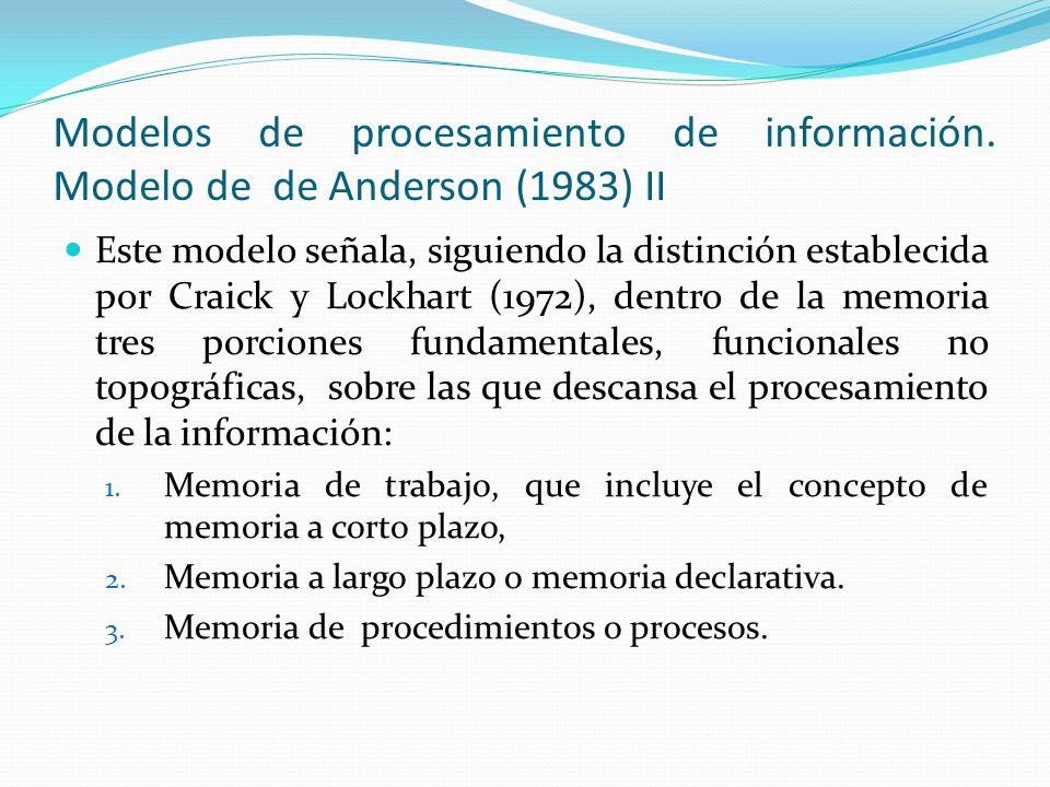 Modelos de procesamiento de información. Modelo de de Anderson (1983) II Este modelo señala, siguiendo la distinción establecida por Craick y Lockhart
