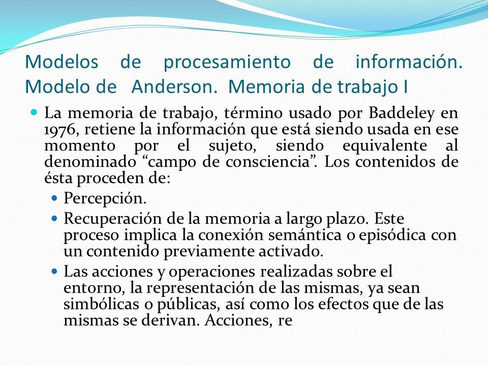 Modelos de procesamiento de información. Modelo de Anderson. Memoria de trabajo I La memoria de trabajo, término usado por Baddeley en 1976, retiene l