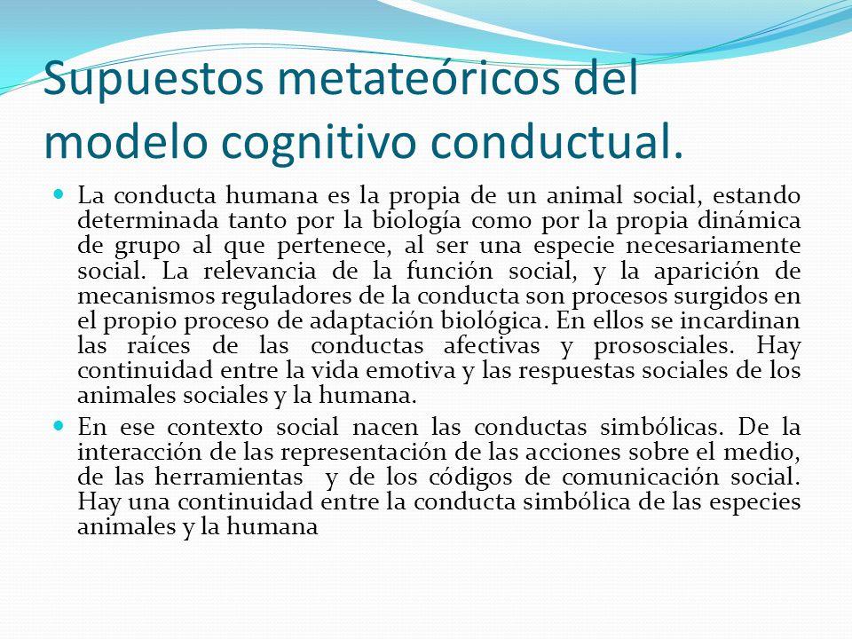 Supuestos metateóricos del modelo cognitivo conductual. La conducta humana es la propia de un animal social, estando determinada tanto por la biología