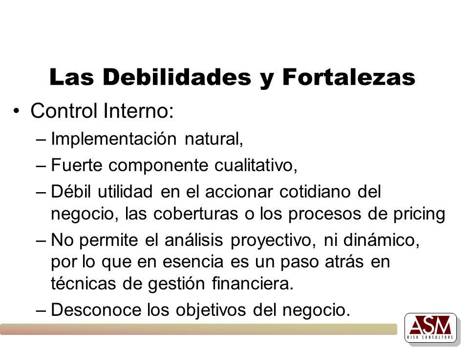Las Debilidades y Fortalezas Control Interno: –Implementación natural, –Fuerte componente cualitativo, –Débil utilidad en el accionar cotidiano del ne