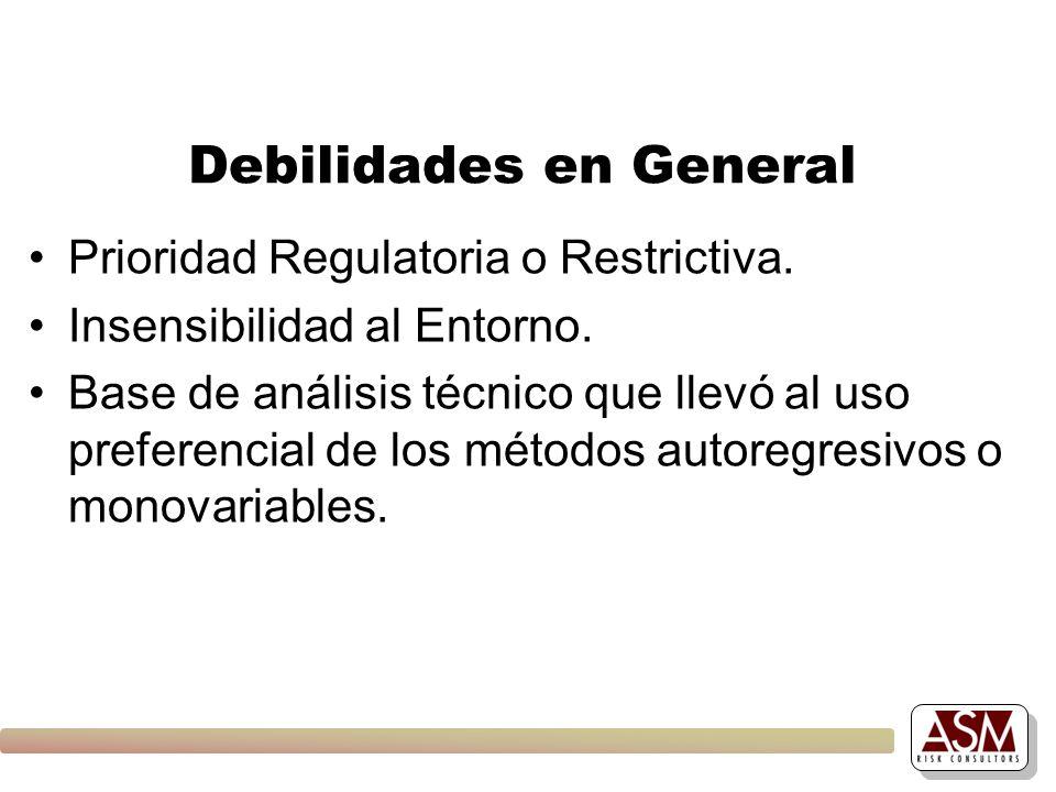 Debilidades en General Prioridad Regulatoria o Restrictiva. Insensibilidad al Entorno. Base de análisis técnico que llevó al uso preferencial de los m