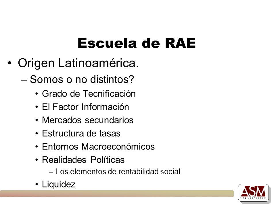 Escuela de RAE Origen Latinoamérica. –Somos o no distintos? Grado de Tecnificación El Factor Información Mercados secundarios Estructura de tasas Ento
