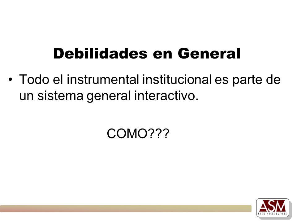 Debilidades en General Todo el instrumental institucional es parte de un sistema general interactivo. COMO???