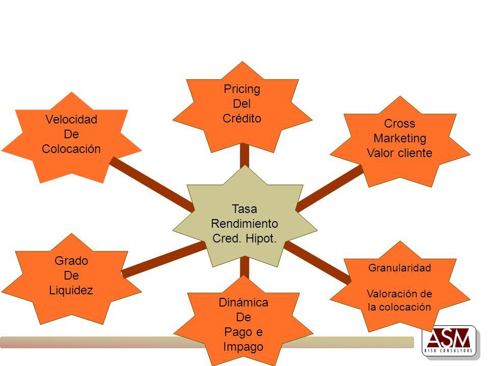 Grado De Liquidez Velocidad De Colocación Tasa Rendimiento Cred. Hipot. Cross Marketing Valor cliente Granularidad Valoración de la colocación Dinámic