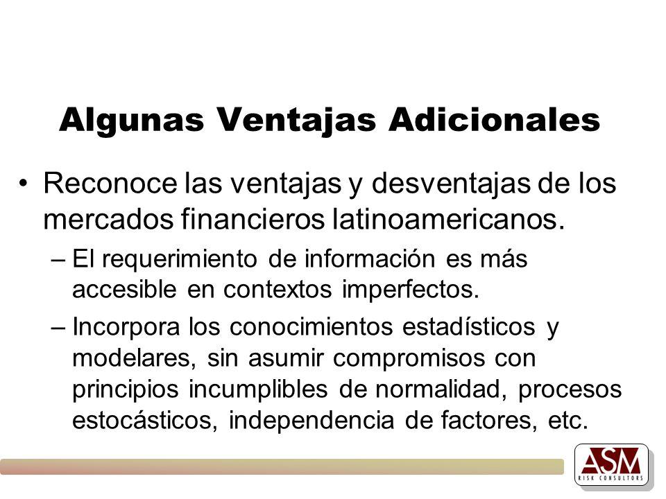 Algunas Ventajas Adicionales Reconoce las ventajas y desventajas de los mercados financieros latinoamericanos. –El requerimiento de información es más