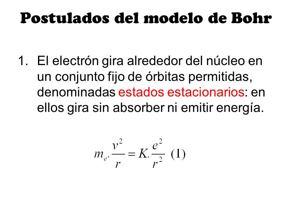 Postulados del modelo de Bohr 1.El electrón gira alrededor del núcleo en un conjunto fijo de órbitas permitidas, denominadas estados estacionarios: en