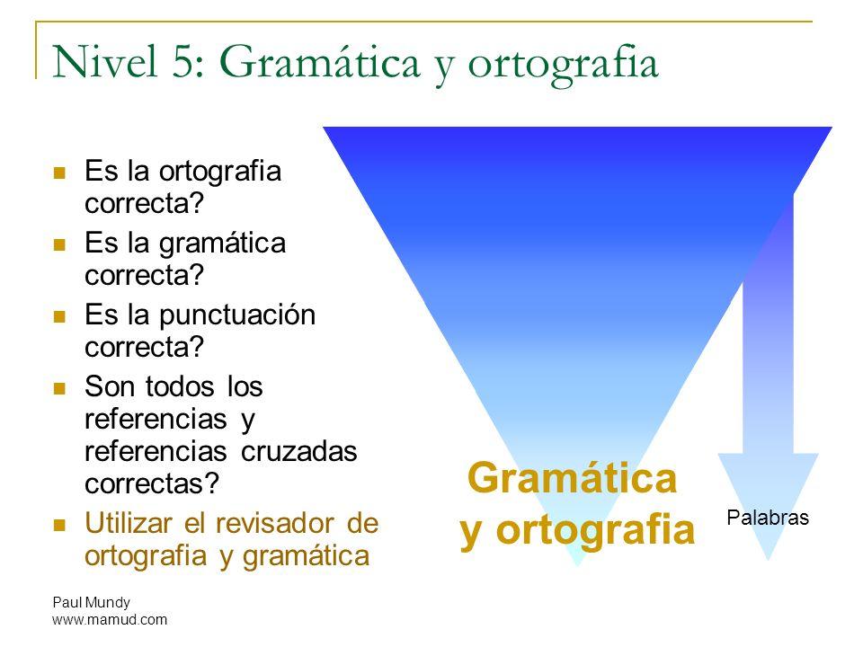 Paul Mundy www.mamud.com Nivel 5: Gramática y ortografia Es la ortografia correcta? Es la gramática correcta? Es la punctuación correcta? Son todos lo