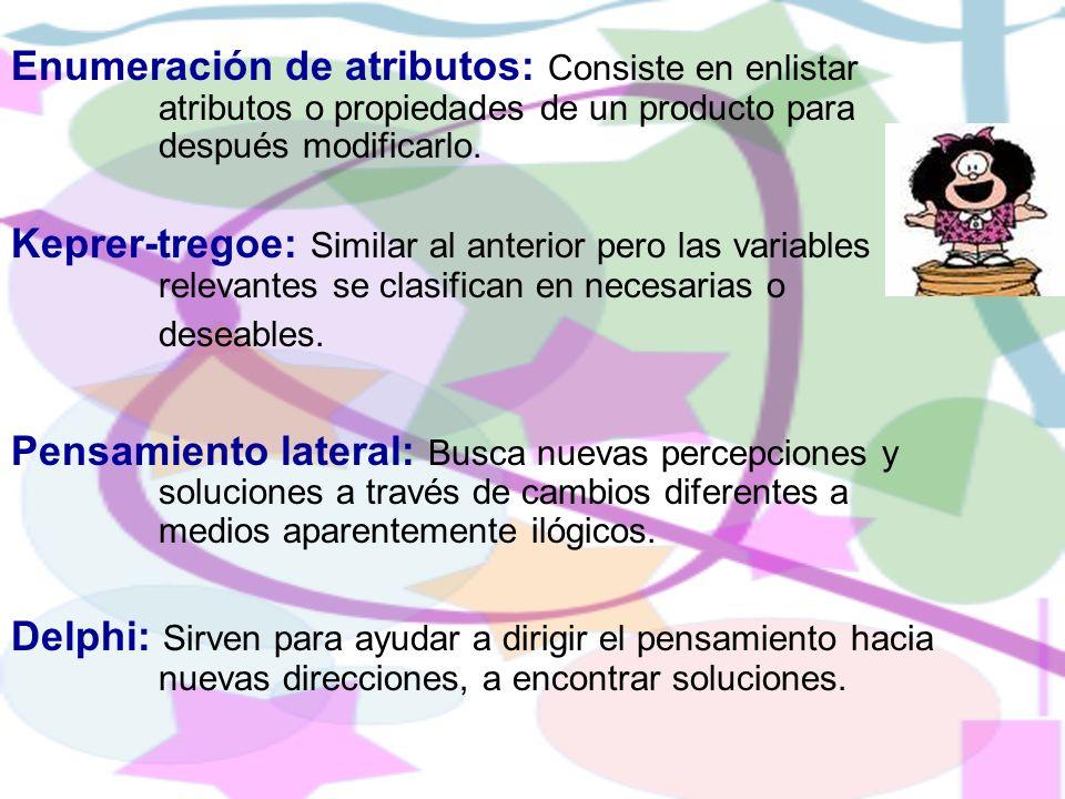 Enumeración de atributos: Consiste en enlistar atributos o propiedades de un producto para después modificarlo. Keprer-tregoe: Similar al anterior per