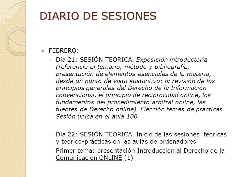 DIARIO DE SESIONES FEBRERO: Día 21: SESIÓN TEÓRICA.