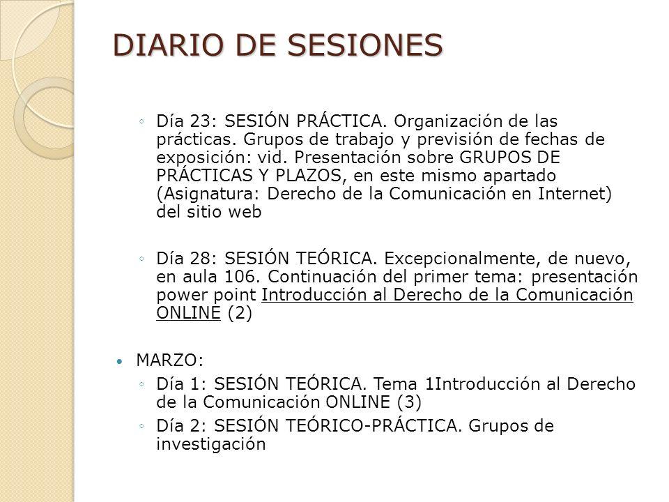 DIARIO DE SESIONES Día 23: SESIÓN PRÁCTICA. Organización de las prácticas.