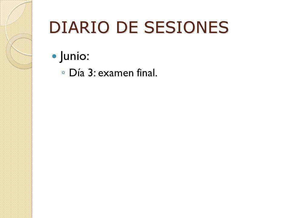 DIARIO DE SESIONES Junio: Día 3: examen final.
