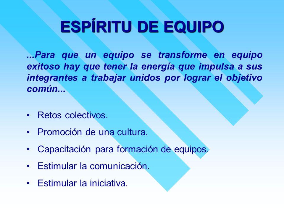ESPÍRITU DE EQUIPO...Para que un equipo se transforme en equipo exitoso hay que tener la energía que impulsa a sus integrantes a trabajar unidos por l
