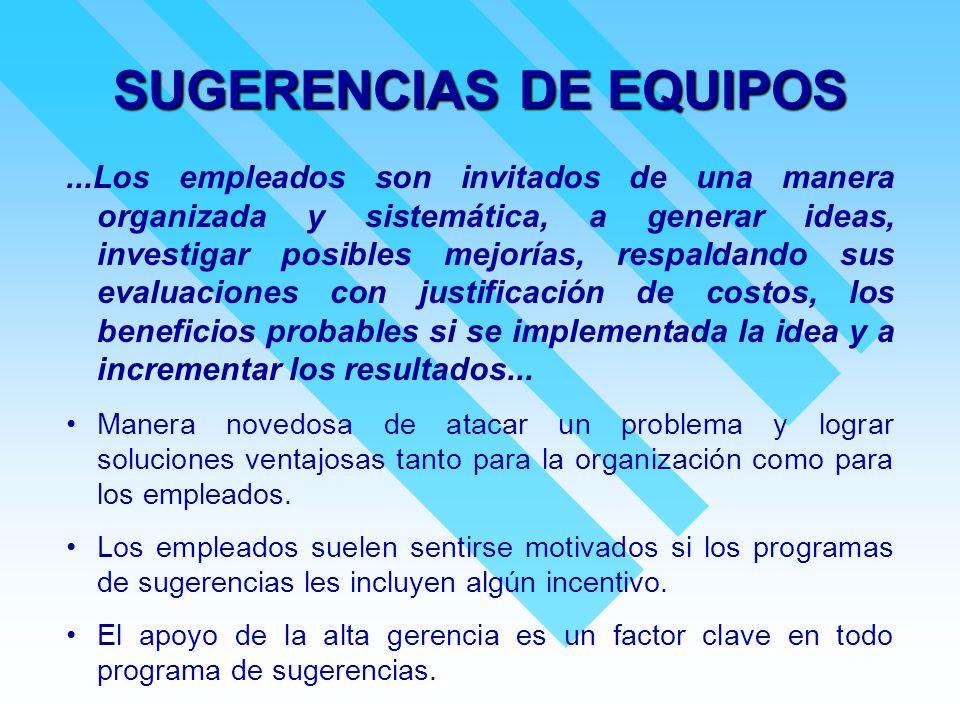 SUGERENCIAS DE EQUIPOS...Los empleados son invitados de una manera organizada y sistemática, a generar ideas, investigar posibles mejorías, respaldand