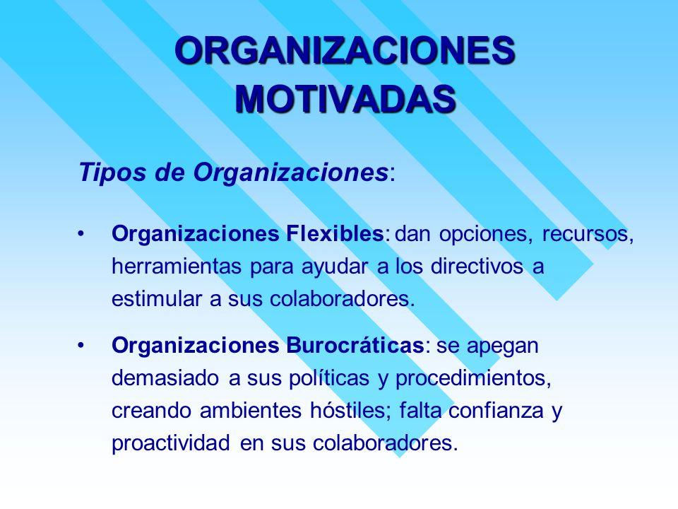 ORGANIZACIONES MOTIVADAS Tipos de Organizaciones: Organizaciones Flexibles: dan opciones, recursos, herramientas para ayudar a los directivos a estimu