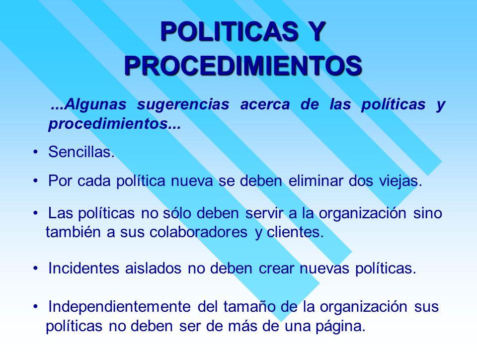 POLITICAS Y PROCEDIMIENTOS...Algunas sugerencias acerca de las políticas y procedimientos... Sencillas. Por cada política nueva se deben eliminar dos
