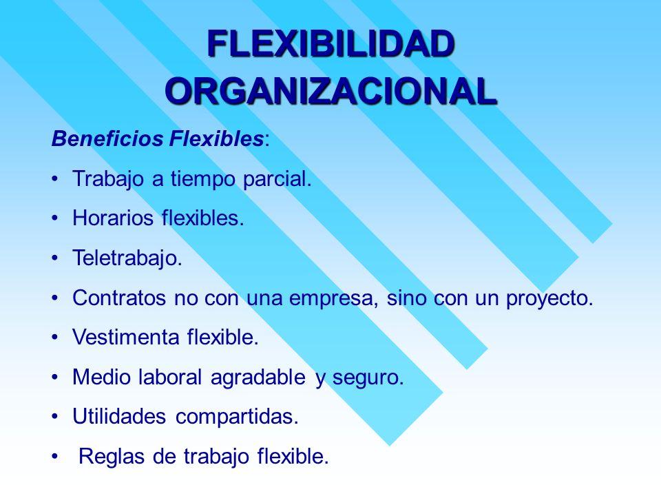 FLEXIBILIDAD ORGANIZACIONAL Beneficios Flexibles: Trabajo a tiempo parcial. Horarios flexibles. Teletrabajo. Contratos no con una empresa, sino con un