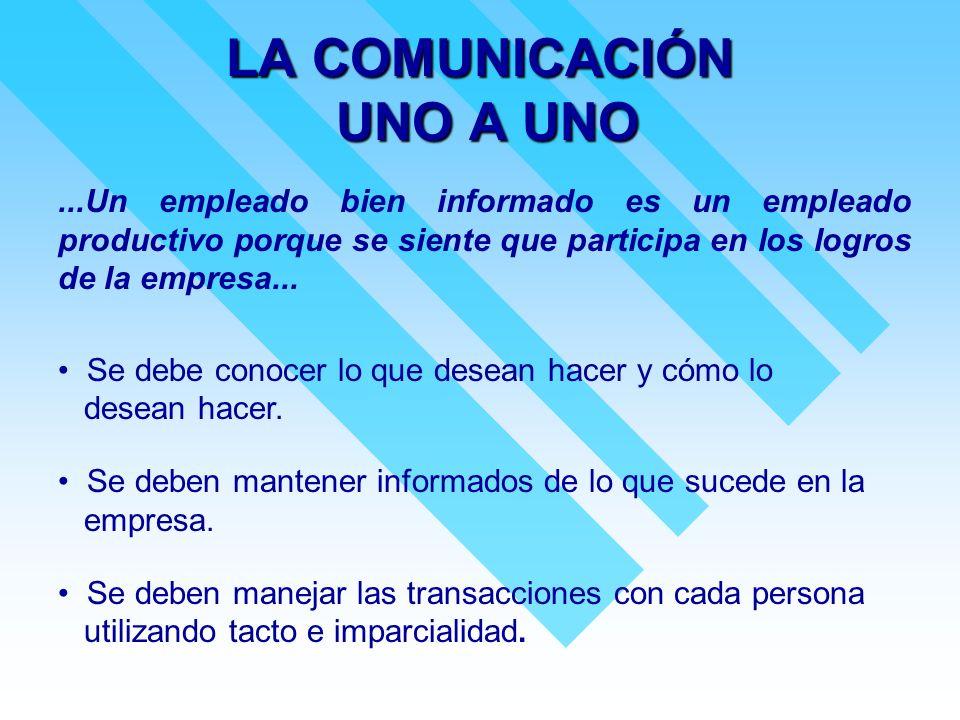 LA COMUNICACIÓN UNO A UNO...Un empleado bien informado es un empleado productivo porque se siente que participa en los logros de la empresa... Se debe