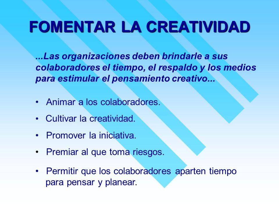 FOMENTAR LA CREATIVIDAD...Las organizaciones deben brindarle a sus colaboradores el tiempo, el respaldo y los medios para estimular el pensamiento cre