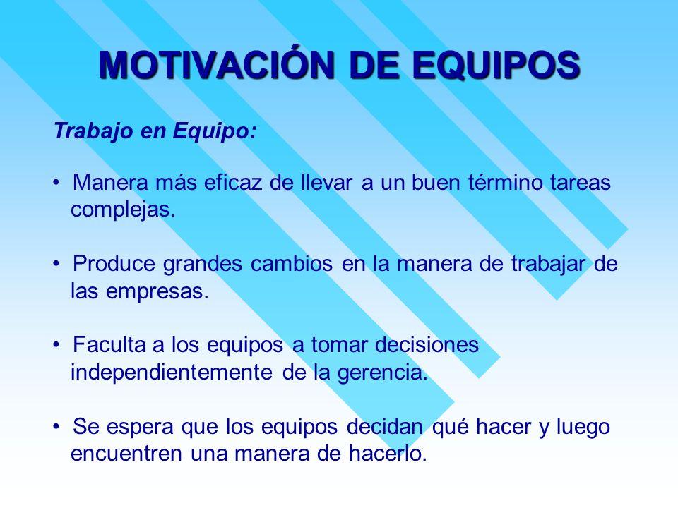 MOTIVACIÓN DE EQUIPOS Trabajo en Equipo: Manera más eficaz de llevar a un buen término tareas complejas. Produce grandes cambios en la manera de traba
