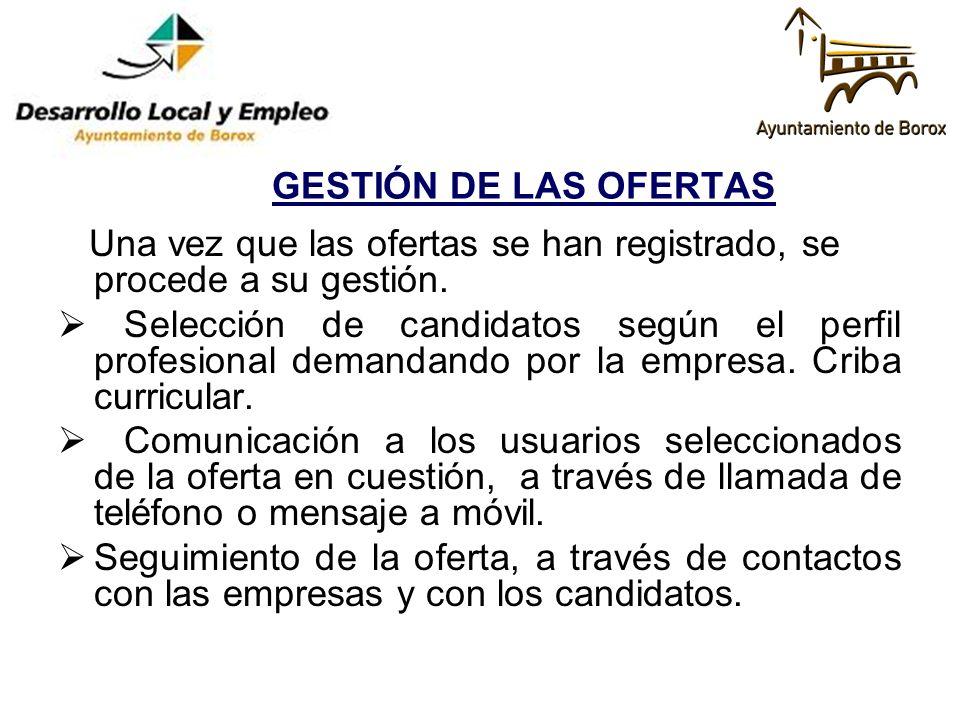 GESTIÓN DE LAS OFERTAS Una vez que las ofertas se han registrado, se procede a su gestión. Selección de candidatos según el perfil profesional demanda