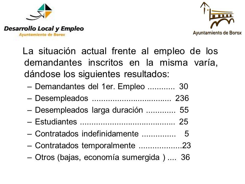 La situación actual frente al empleo de los demandantes inscritos en la misma varía, dándose los siguientes resultados: –Demandantes del 1er. Empleo..