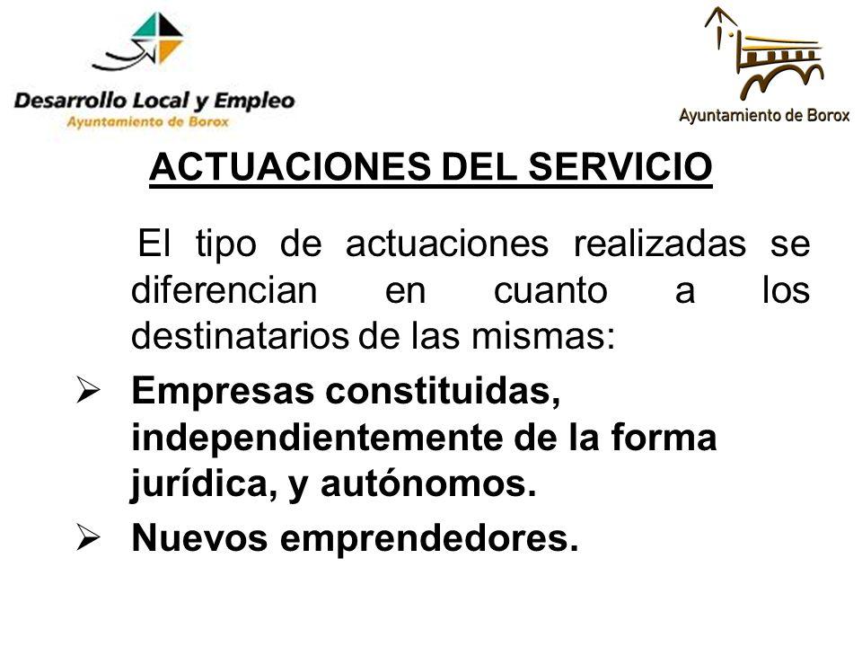 ACTUACIONES DEL SERVICIO El tipo de actuaciones realizadas se diferencian en cuanto a los destinatarios de las mismas: Empresas constituidas, independ