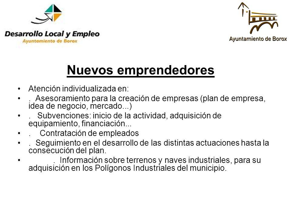 Atención individualizada en:. Asesoramiento para la creación de empresas (plan de empresa, idea de negocio, mercado...). Subvenciones: inicio de la ac