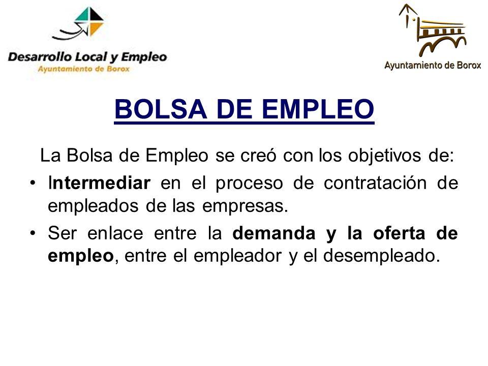 BOLSA DE EMPLEO La Bolsa de Empleo se creó con los objetivos de: Intermediar en el proceso de contratación de empleados de las empresas. Ser enlace en