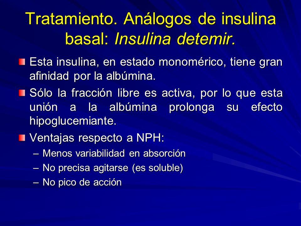 Tratamiento. Análogos de insulina basal: Insulina detemir. Esta insulina, en estado monomérico, tiene gran afinidad por la albúmina. Sólo la fracción